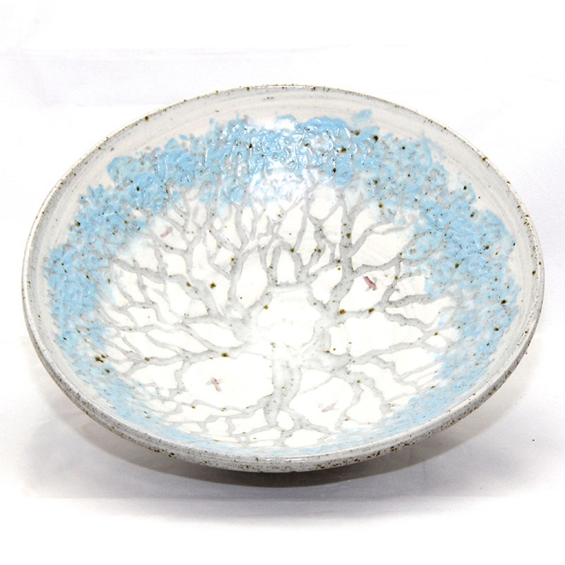 Blue tree serving bowl
